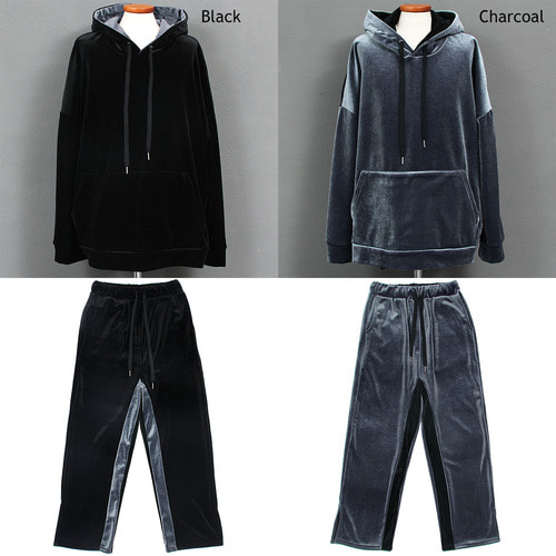 Contrast Side Color Split Side Fleece Velvet Gym Wear Set