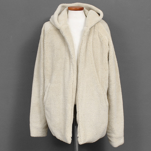 Beige Loose Fit Fluffy Fleece Split Side Open Hoodie