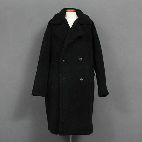 Loose Fit All Fluffy Fleece Double Button Long Coat