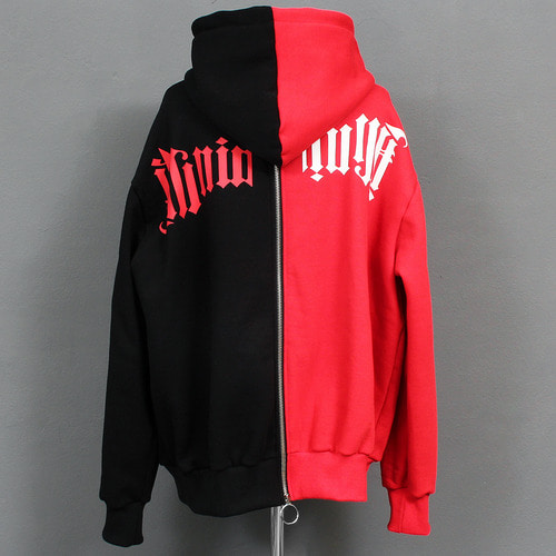 Contrast Half Color Printing Interior Fleece Back Zip Up Hoodie