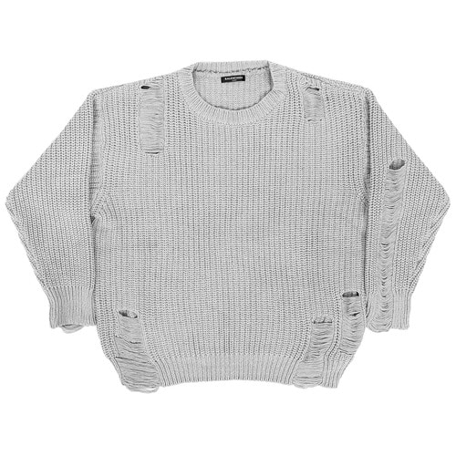 Loose Fit Vintage Style Destroyed Damaged Knit Jumper