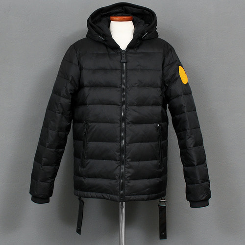 Double Zipper Duck Down Hooded Short Padded Puffa Jacket