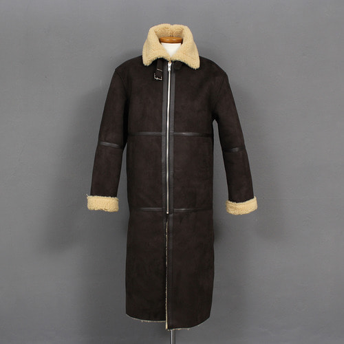 Belt Strap Collar Shearling Fluffy Faux Leather Long Coat