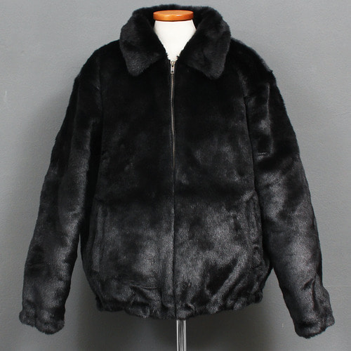 Logo Printing All Fluffy Fur Zip Up Jacket