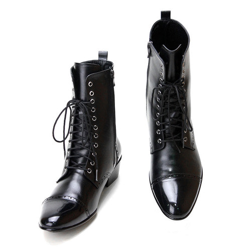 [Sample Discount] High Top Black Leather Boots [US 9.5]