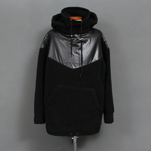 Double High Neck Contrast Shoulder Fluffy Fleece Anorak Hoodie