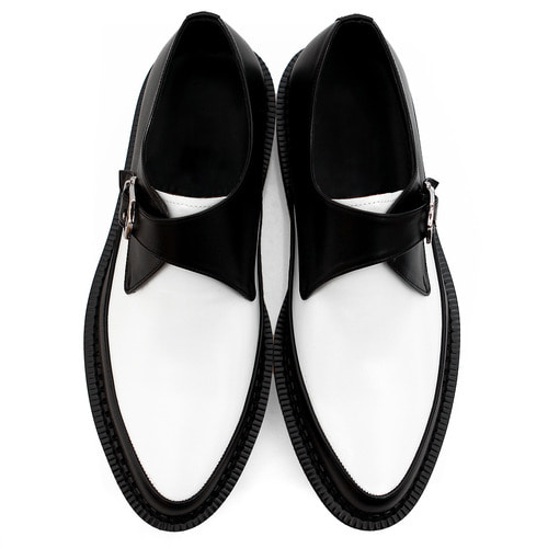 Handmade Monk Strap Leather Black White Blown Sole Creepers 1068