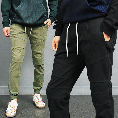Vintage Washed Slim Zippered Ankle Biker Sweatpants Jogger Pants