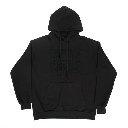 Black Loose Fit Fluffy Logo Big Pocket Boxy Hoodie