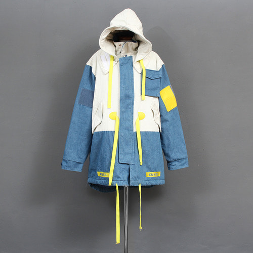 Loose Fit Contrast Color Removable Big Hood Denim Jacket