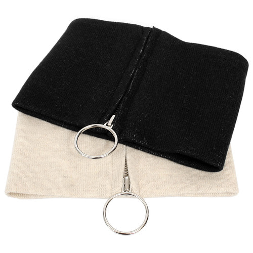 Wool Knit Ring Zip Up Neck Warmer Band