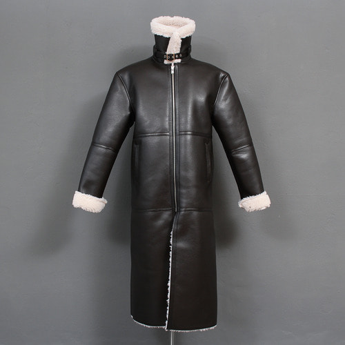 Belt Strap Collar Fluffy Fur Faux Leather Long Coat