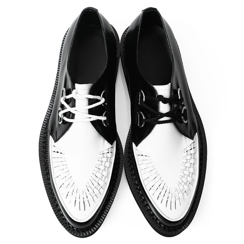 Handmade Round Toe Leather Black White Blown Sole Creepers 1079