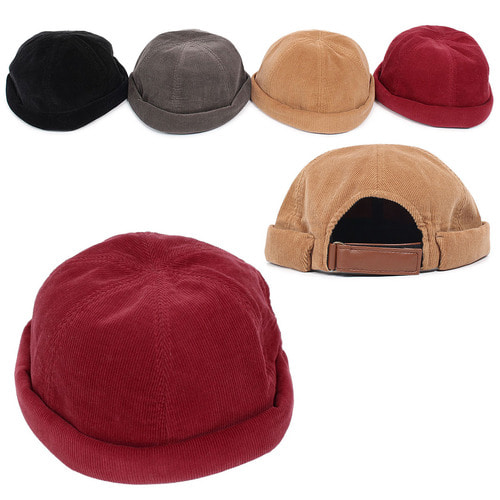 Adjustable Size Corduroy No Brim Hat