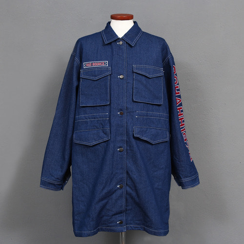 Loose Fit Logo Stitch Blue Boxy Denim Shirt Jacket Shirket