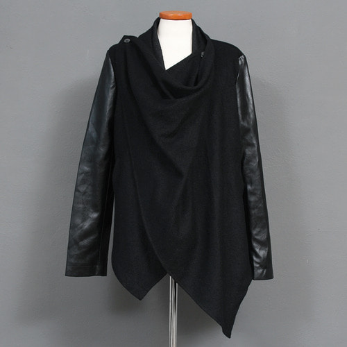 Black Faux Leather Sleeve Wool Shawl Cardigan