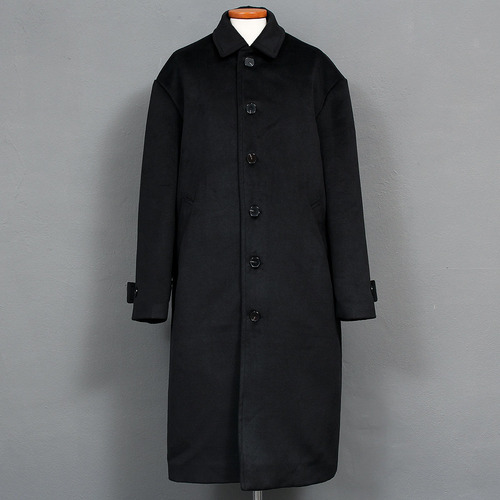 Loose Fit Single Button Long Wool Coat