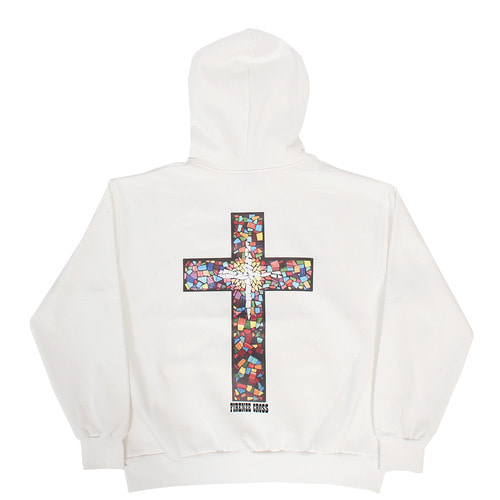 Back Cross Logo Printing Interior Fleece Boxy Hoodie