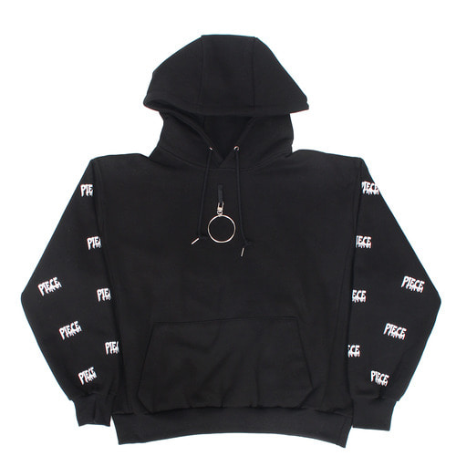 Front Ring Logo Printing Interior Fleece Boxy Hoodie