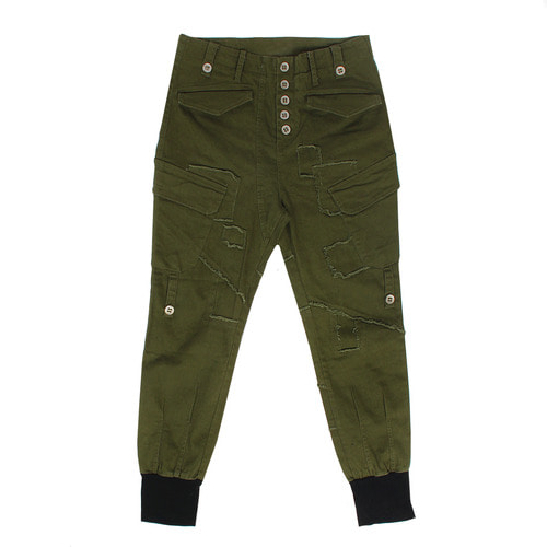 Vintage Cargo Pocket Zipper Long Hem Jogger Pants