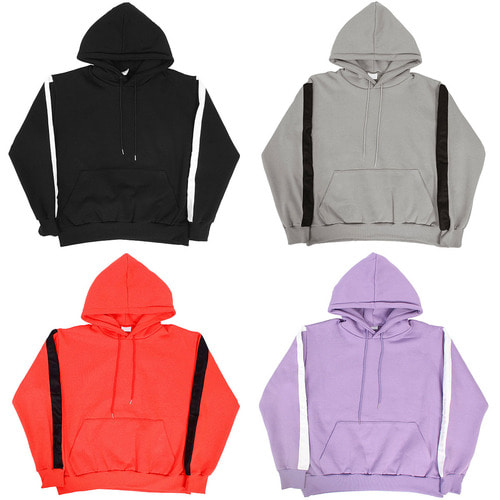 Side Tape Line Big Pocket Interior Fleece Boxy Hoodie