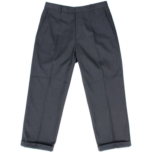 Hound's Tooth Check Elasticized Waistband Wide Slacks Pants