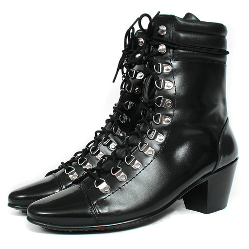 Handmade 7 cm Kill Heel Lace Up High Top Boots 4774