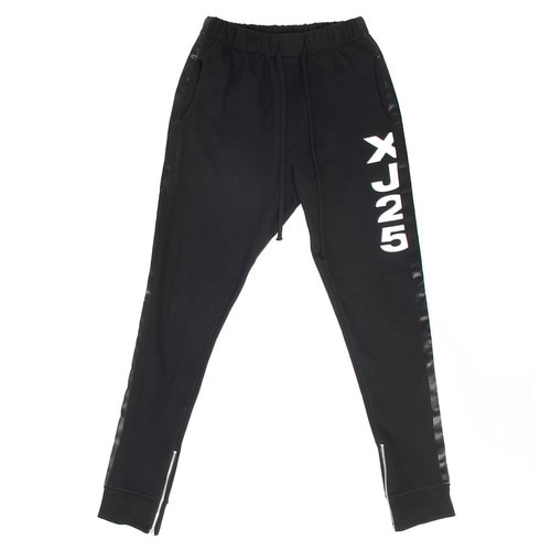 Side Logo Printing Zipper Hem Jersey Slim Sweatpants