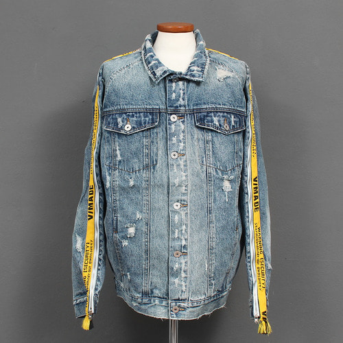 Standard Fit Side Line Logo Zippered Sleeve Vintage Denim Jacket