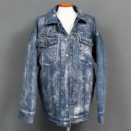 Vintage Silver Painted Loose Fit Denim Jacket