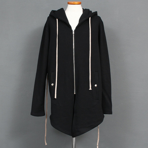 Black Long Strap Draped Zip Up Hoodie