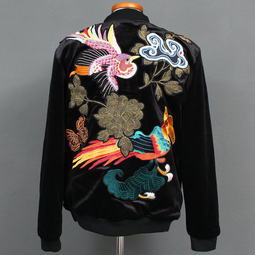 Slim Fit Embroidery Stitch Black Velvet Bomber Jacket