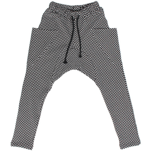 Drop Crotch Jacquard Weave Pattern Slim Sweatpants