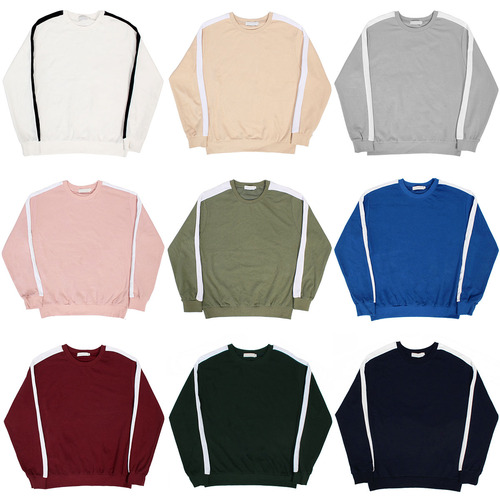 Sleeve Side Contrast Line Color Sweatshirt