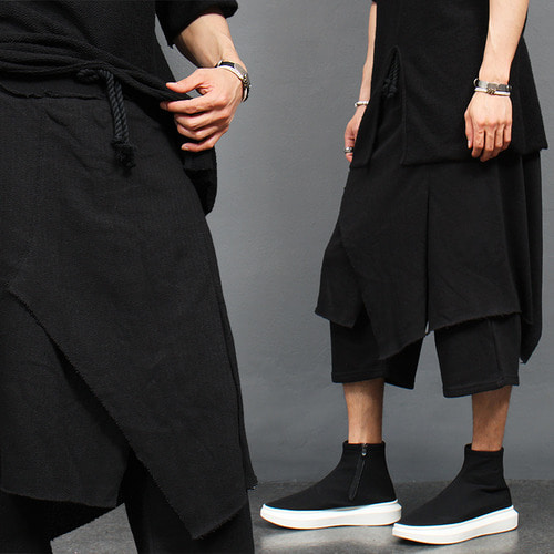 Grunge Unbalanced Cover Layered 4/5 Sweatpants