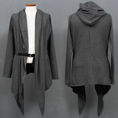 Avantgarde Draping Unbalanced Design Buckle Strap Hoodded Cardigan