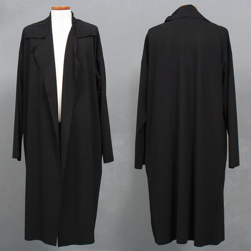 Loose Open Front Black Long Cardigan