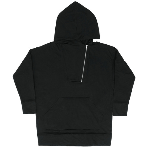 Vintage Trimming Unbalanced Zip Up Anorak Hoodie 002