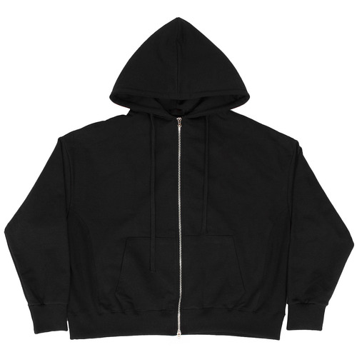2 Way Double Zip Up Pocket Boxy Black Hoodie 003