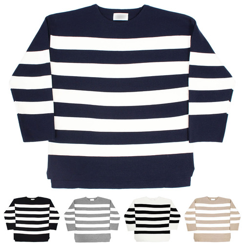 Loose Fit Striped Split Side Knit Jumper 001