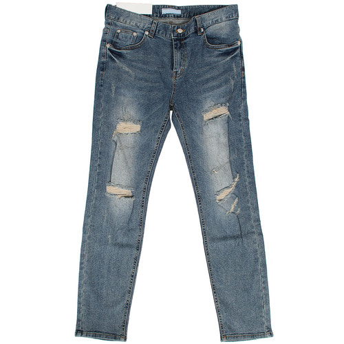 Vintage Distressed Faded Blue Skinny Jeans 007