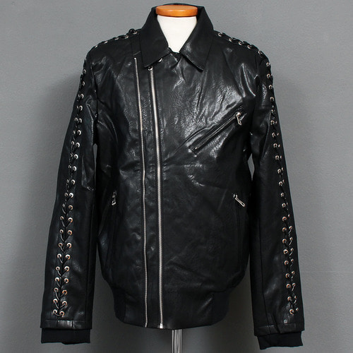 Eyelet Strap Zipper Pocket Faux Leather Rider Jacket 001