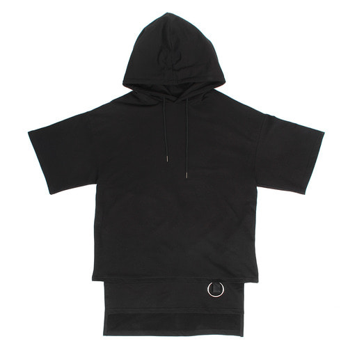Loose Fit Layered Split Hem Ring Hoodie