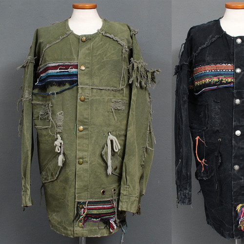 Vintage Heavy Destroyed Military Jacket 009