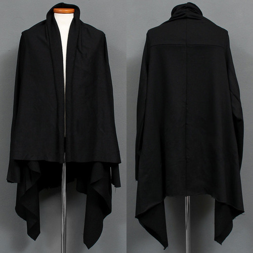 Avantgarde Black Long Symmetric Shirring Shawl Cardigan 004