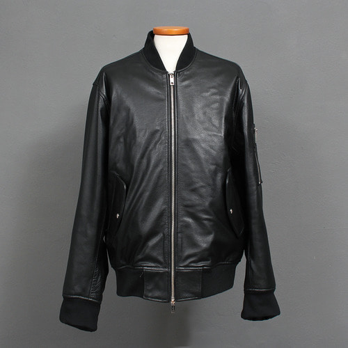 Skull Logo Stitch Genuine Black Cowhide Leather Bomber Jacket