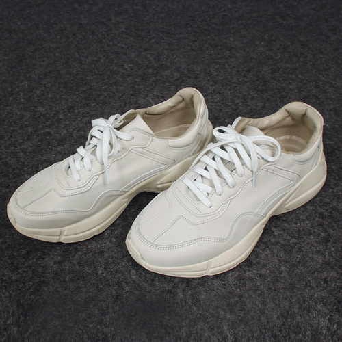 Cowhide Leather Lace Up Runner Sneakers 002