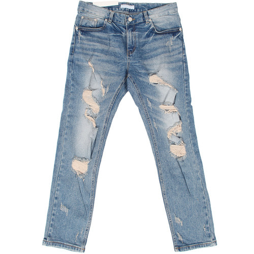 Vintage Damaged Cut Blue Slim Jeans 025