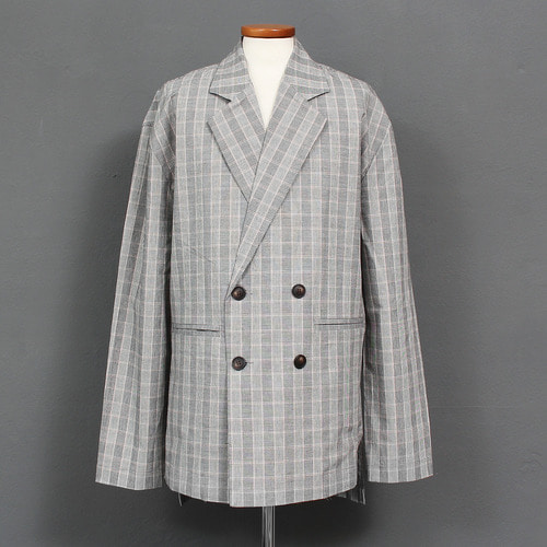 Double Button Split Side Check Pattern Jacket 015