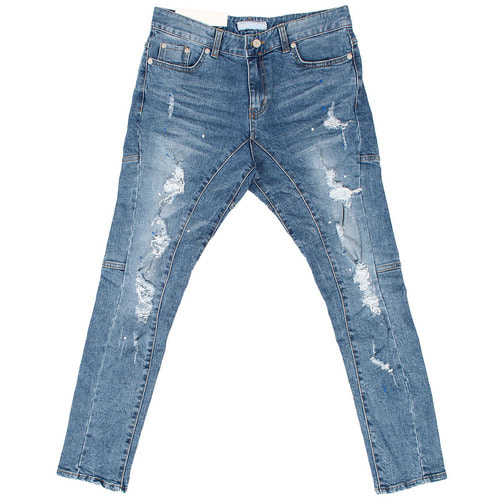 Vintage Damaged Distressed Blue Biker Slim Jeans 033